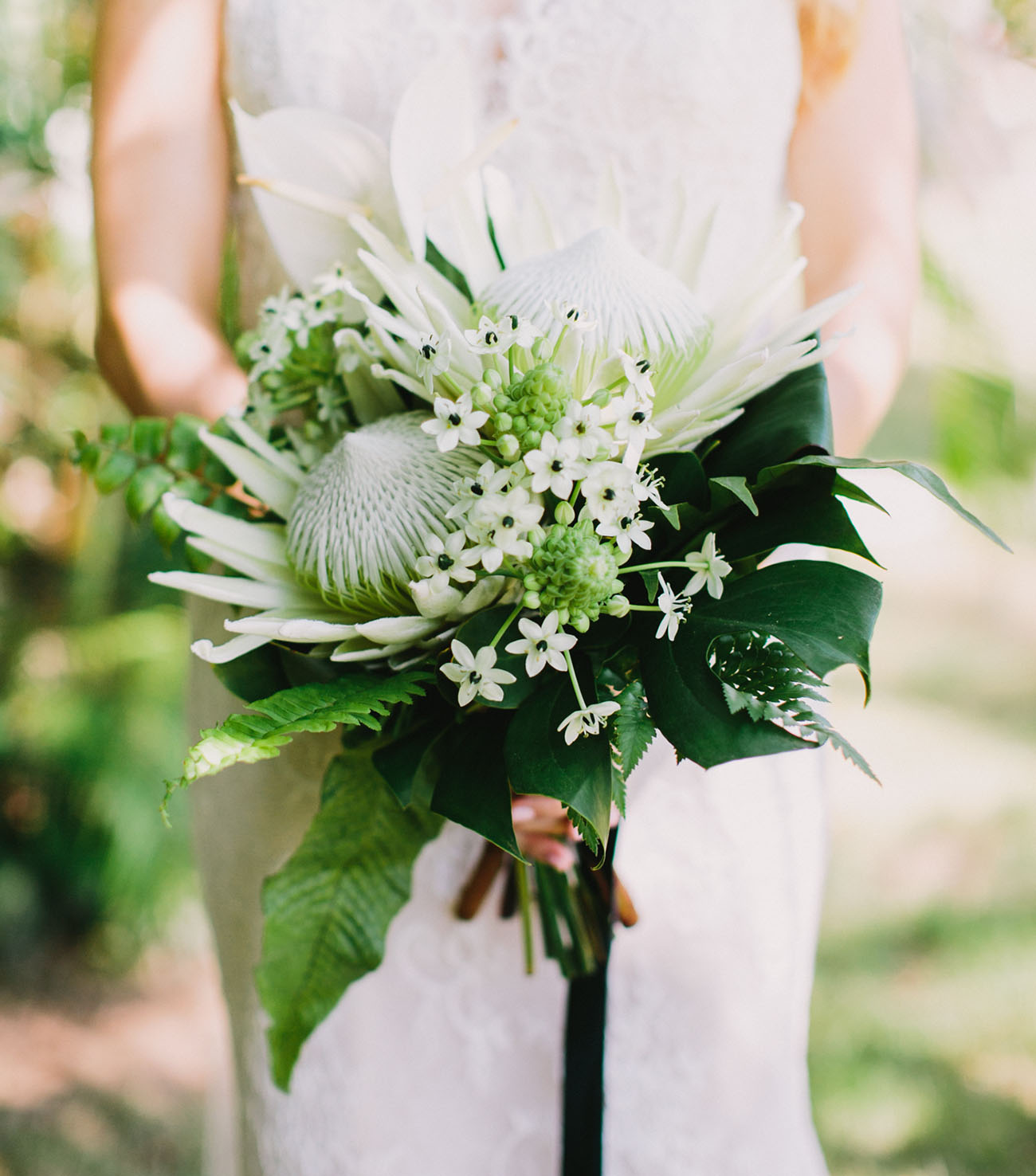 Protea Wedding Flowers: Bouquet With King Protea And Ornithogalum