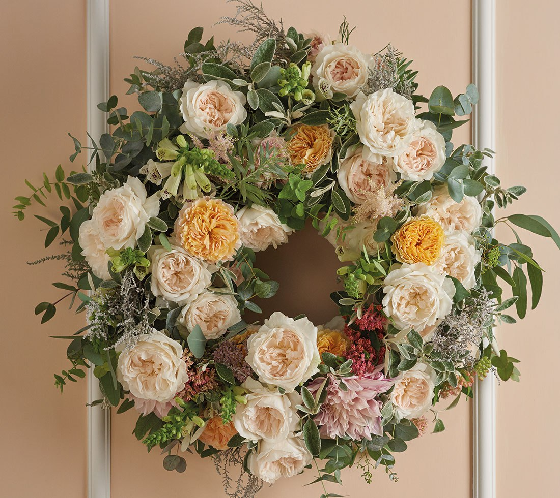 Purity Wreath By David Austin Dreisbach Wholesale Florists