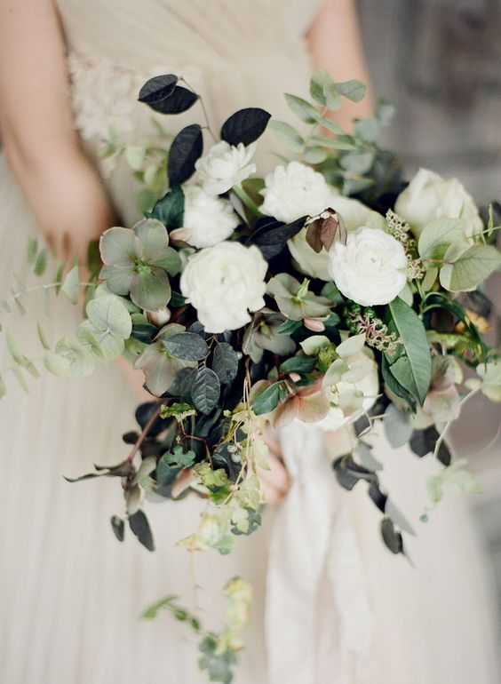 Helleborus and Ranunculus Bridal Bouquet photo by Taylor & Porter UK