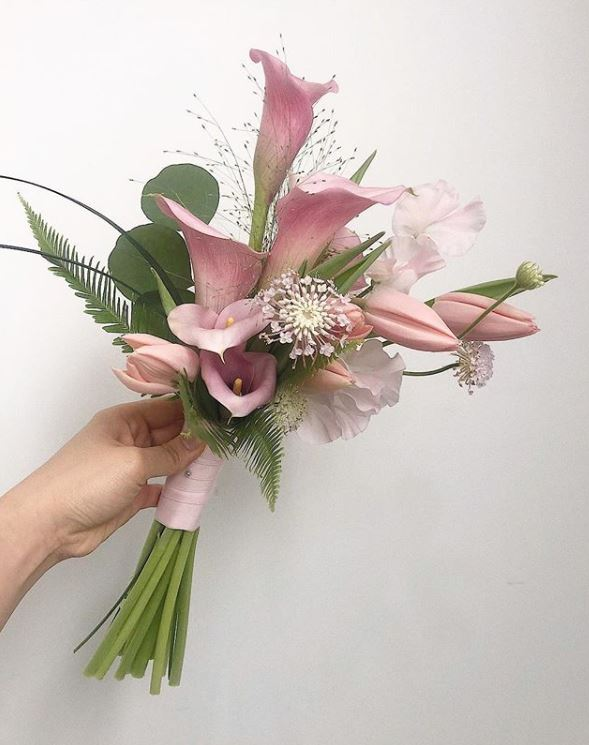 Pink Calla Lilies, Pink Tulips, Swordfern & Sweet Pea Pink Bouquet