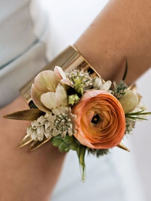 Gold Cuff corsage with ranunculus, astrantia, pieris & helleborus by Flowers From the Rafters