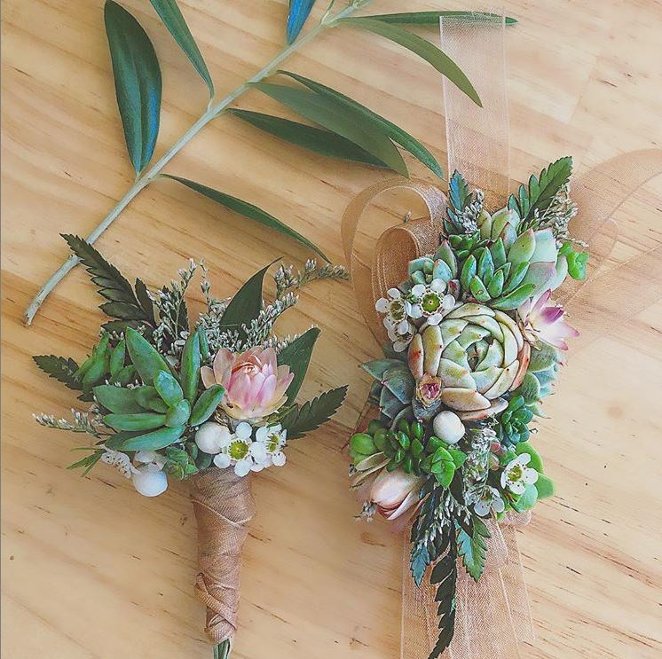 Corsage and Boutonniere with succulents, waxflower, and limonium