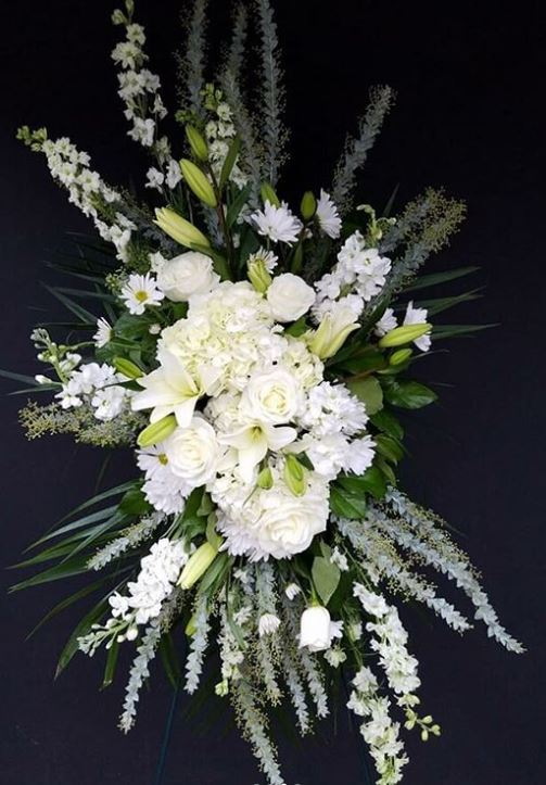 White Standing Spray Tribute Arrangement by Bellevue Florist In TN