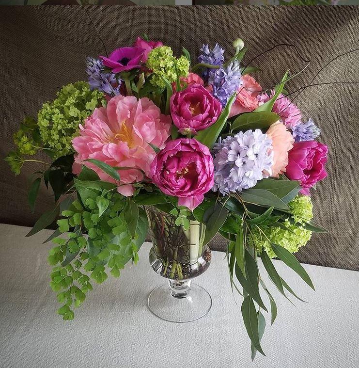Peonies in coral & hot pink with hyacinth, hydrangea, maidenhair fern, anemones, willow eucalyptus by Robinwood Flowers in Cincinnati, Ohio