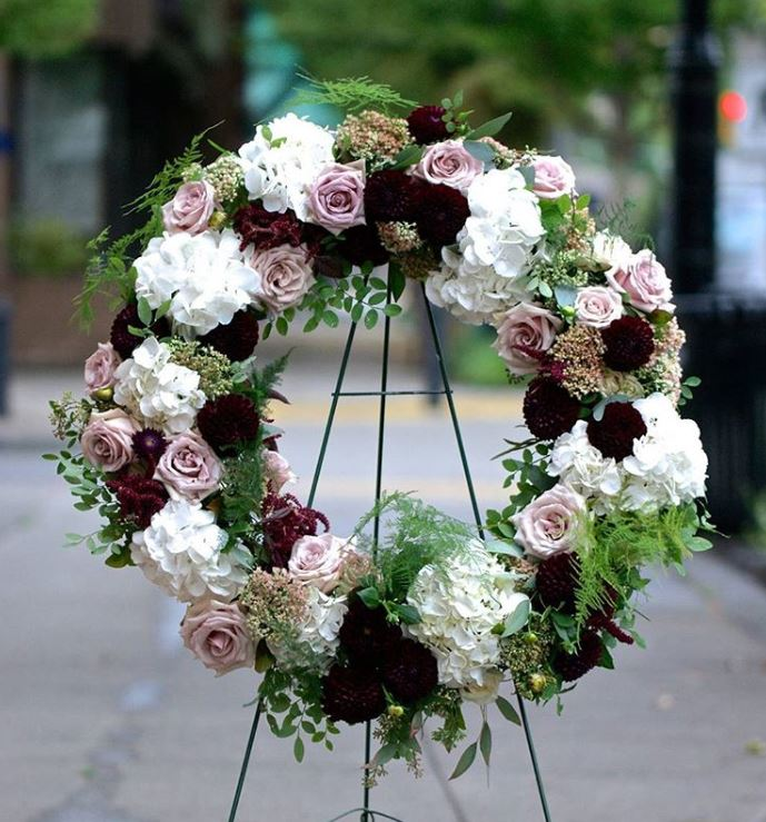 Mauve, burgundy and blush flower wreath by Studio Floretta