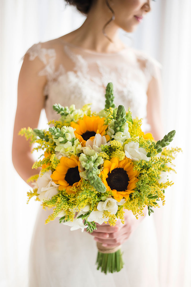 Yellow Snapdragon, Yellow Sunflowers, White Freesia & Yellow solidago bouquet by IAMFLOWERS