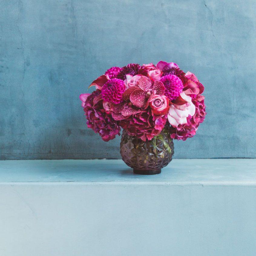 Hot pink flower arrangement by Empty Vase