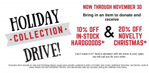 Holiday Collection Drives Going on Now!